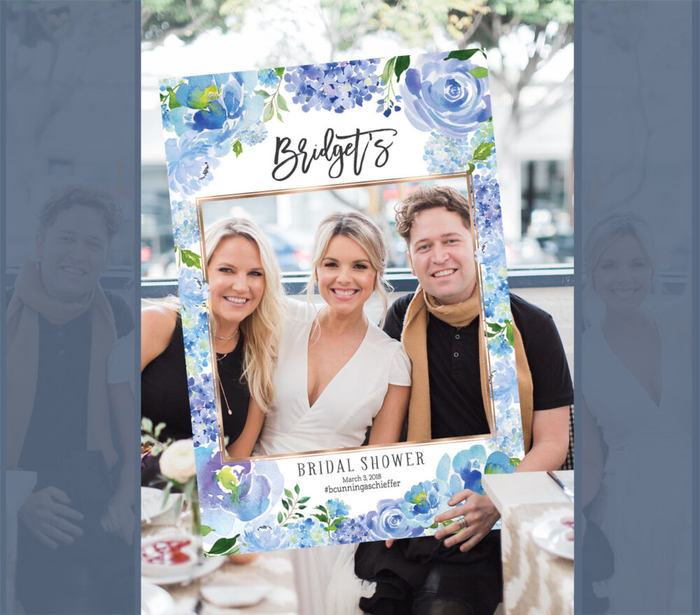Bridal Shower Photo Prop, Wedding Photo Props, Shower Booth Frame, Blue Hydrangea Props