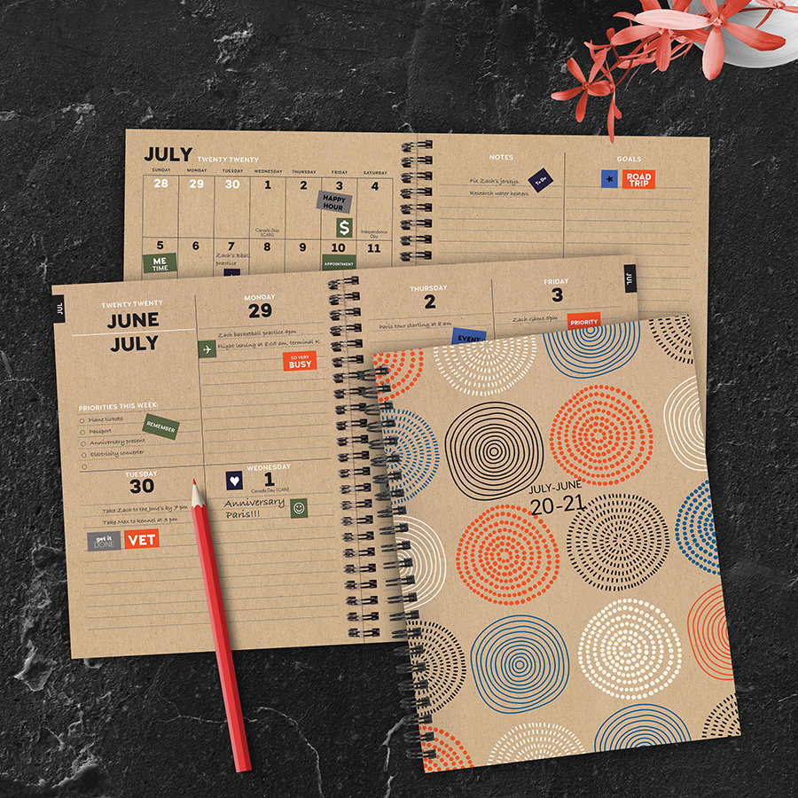 July 2020 - June 2021 Circles Medium Daily Weekly Monthly Spiral Planner With Stickers- 6x8