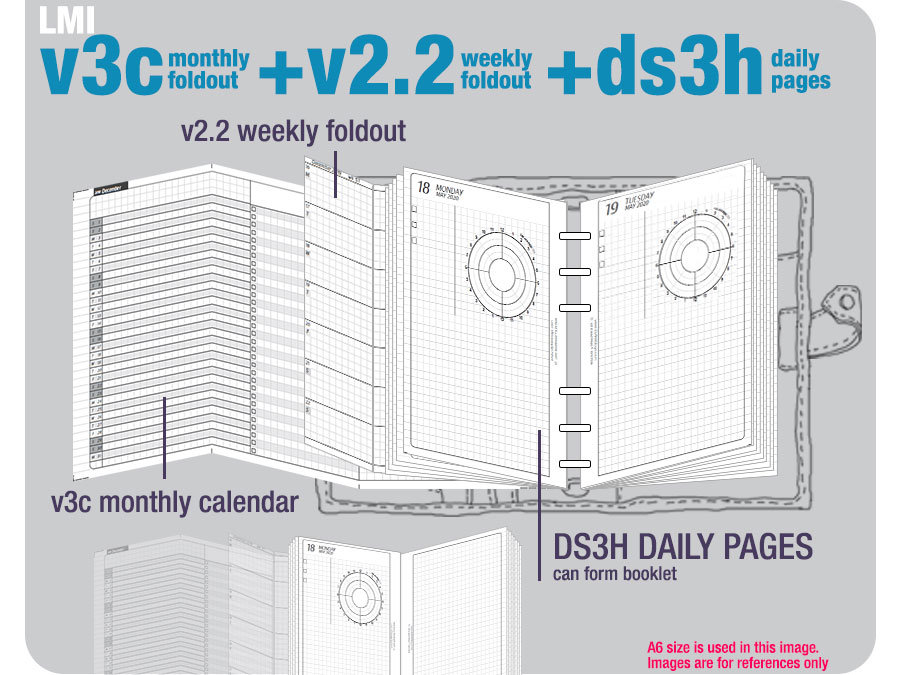 V3C Monthly Foldout + V2.2 Weekly Ds3H Daily Pages/Life Mapping Components - Filofax Inserts Tn Printables Binder Planner Midori