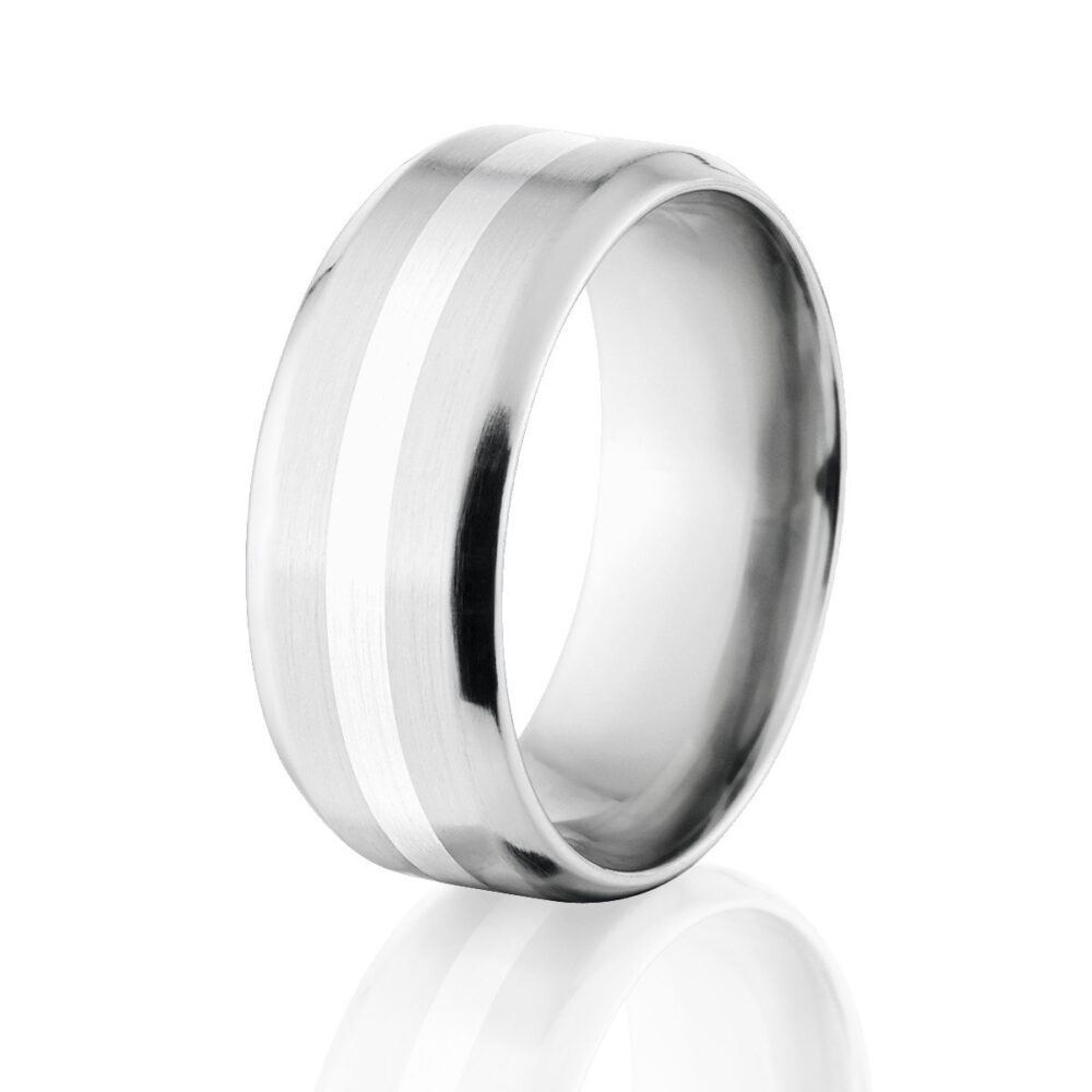 Beveled Cobalt Chrome Ring With Sterling Silver Inlay Wedding Band Mens Cob-9B12G-B-Silver-Inlay