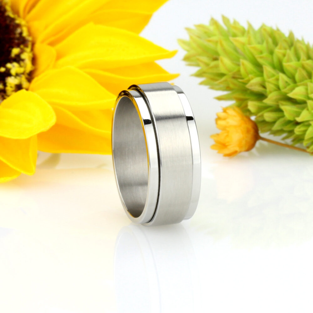 Custom Engraving 7mm 316L Stainless Steel Ring Band Spinner Ring/ Gift Box(Sntsr448