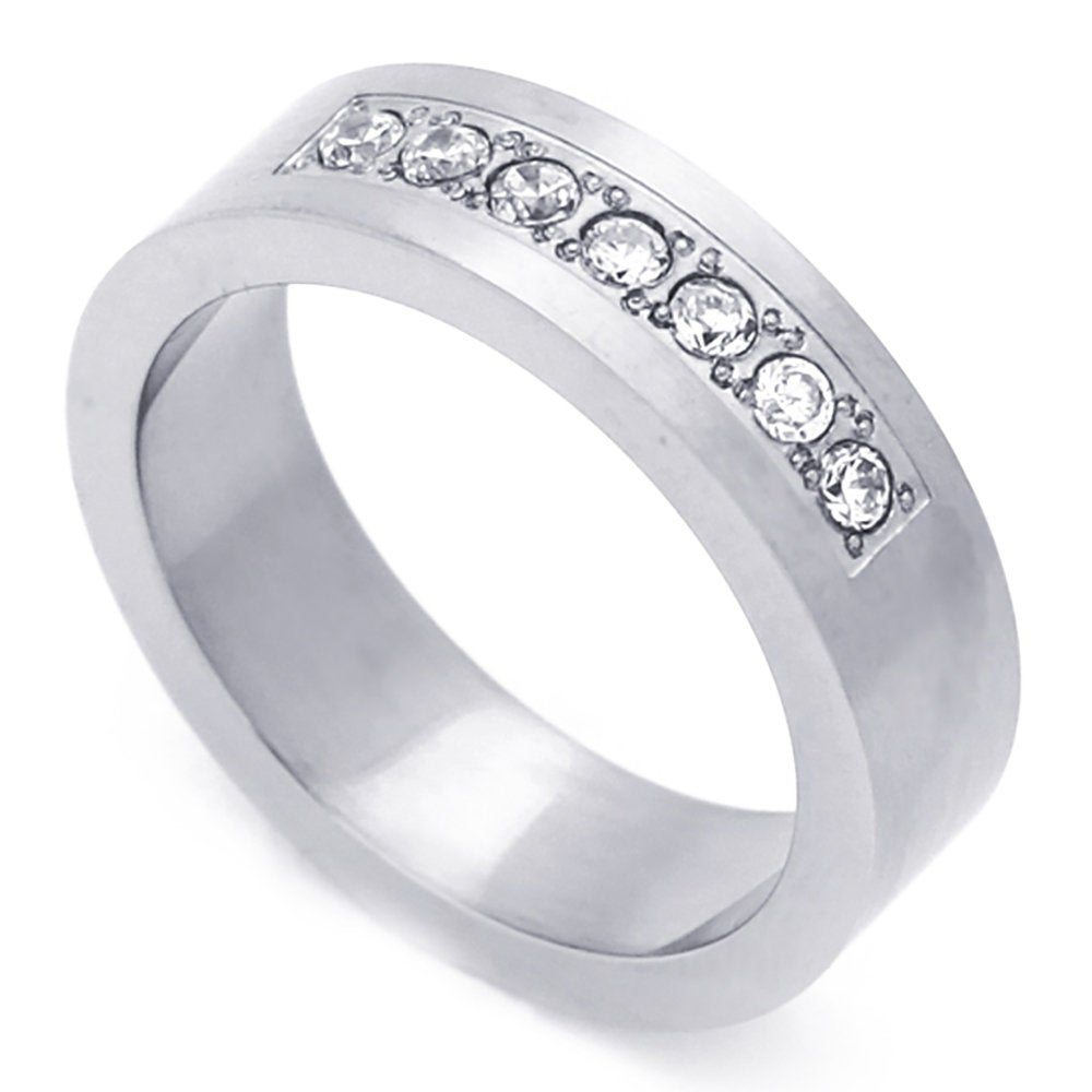 Men Women Fashion 6mm Stainless Steel Ring Round Seven Cz Stone Wedding Band Ring(Dctrss064