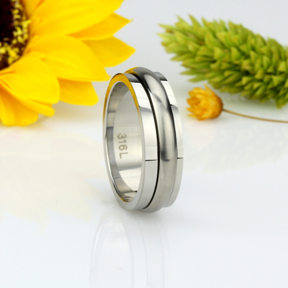 Custom Engraving Men Women 8mm Stainless Steel Ring Domed Spinner Band(Dctrss032
