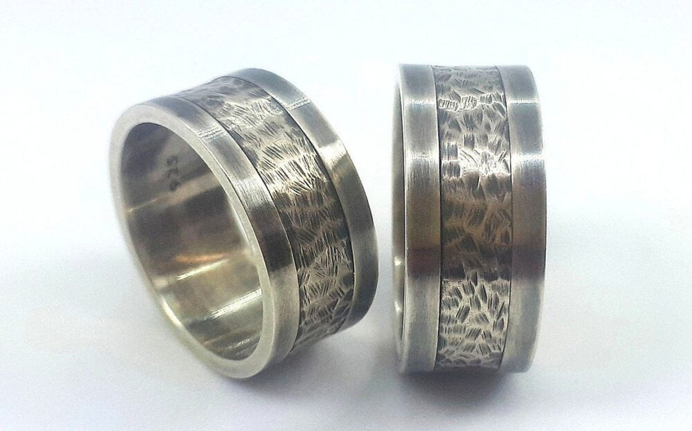 Unique Wedding Band Set, Matching Bands, Rustic Bands, Couples Silver Bands, Mens Or Women