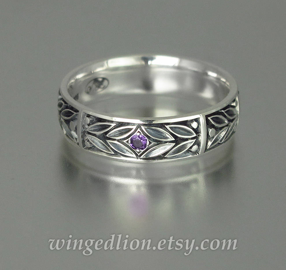 Evergreen Laurel Silver Mens Wedding Band With Amethyst Unisex