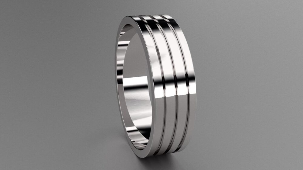 Silver 6mm Mens Triple Grooved Wedding Band, 925 Sterling Clean Simple Design, Customizable