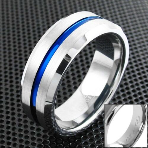 Men Blue/Silver Cross Wedding Band