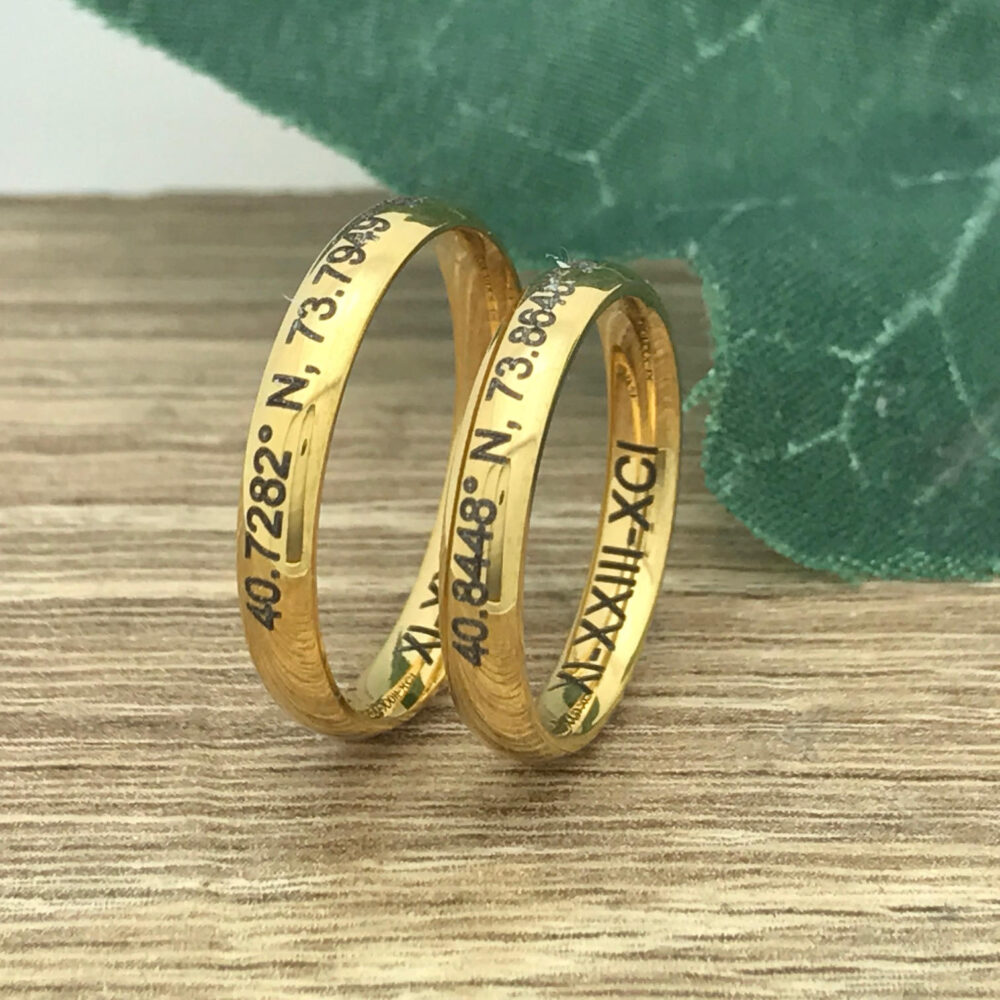 3mm His & Hers Wedding Ring, Personalized Custom Engrave Stainless Steel Band Rings , Couples Ring Sets