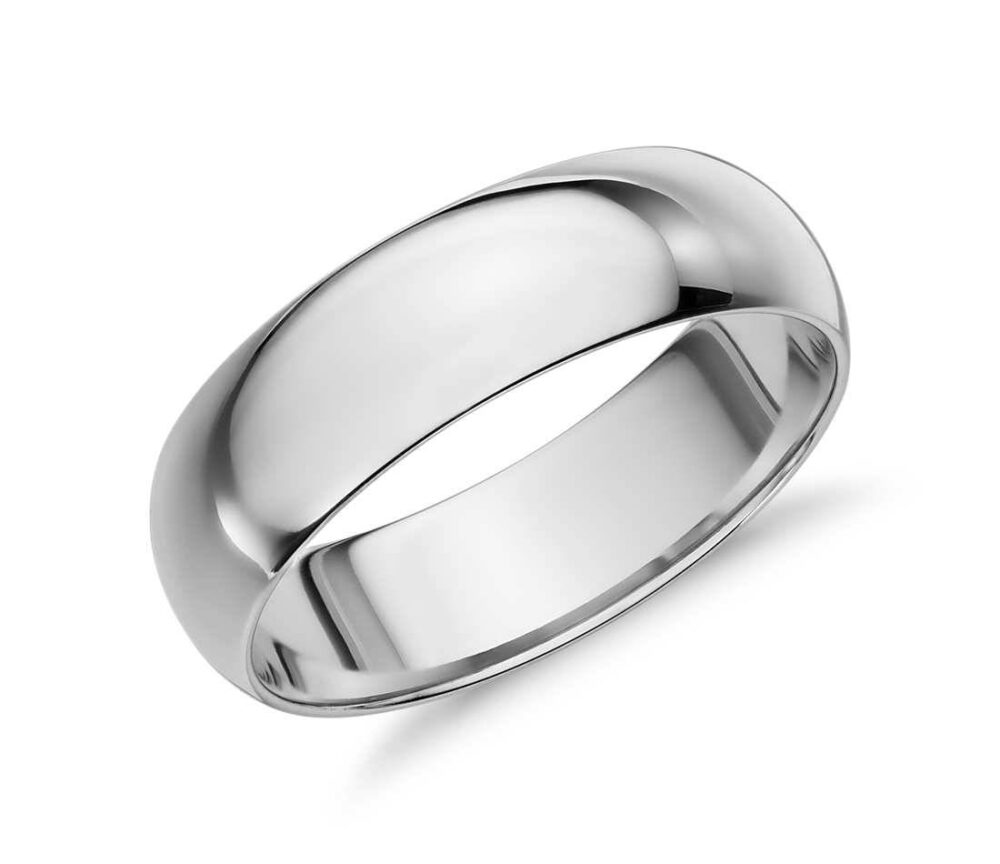 Comfort Fit 6 Mm Sterling Silver Domed Plain Wedding Band, Men Women Unisex Band | 024-6Mm