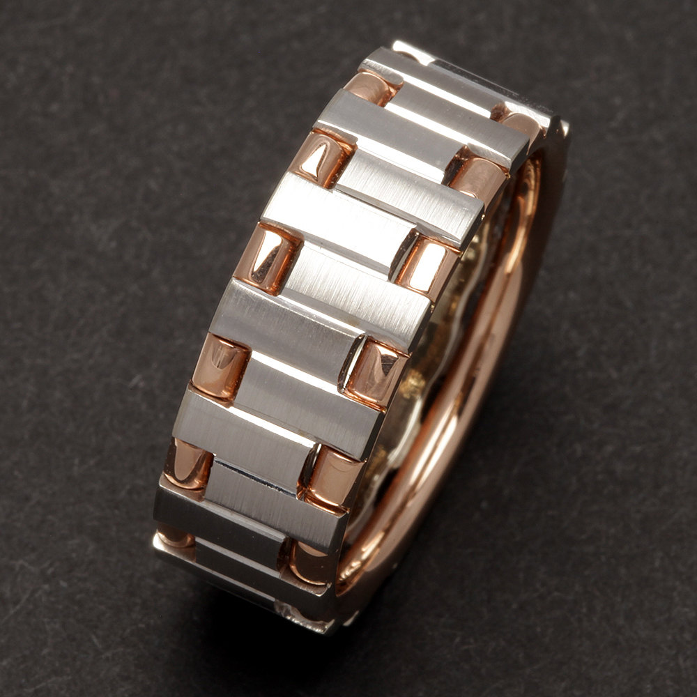 8mm Mens Wedding Band in 14K Solid Rose Gold & White Gold, Brushed Band, Personalized Free Custom Engraving, Dc6512