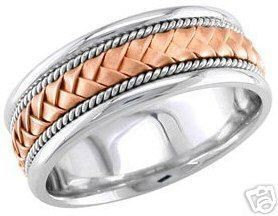 14K Solid White & Rose Gold Mens 8.5mm Braided Wedding Band Anniversary Engagement Style