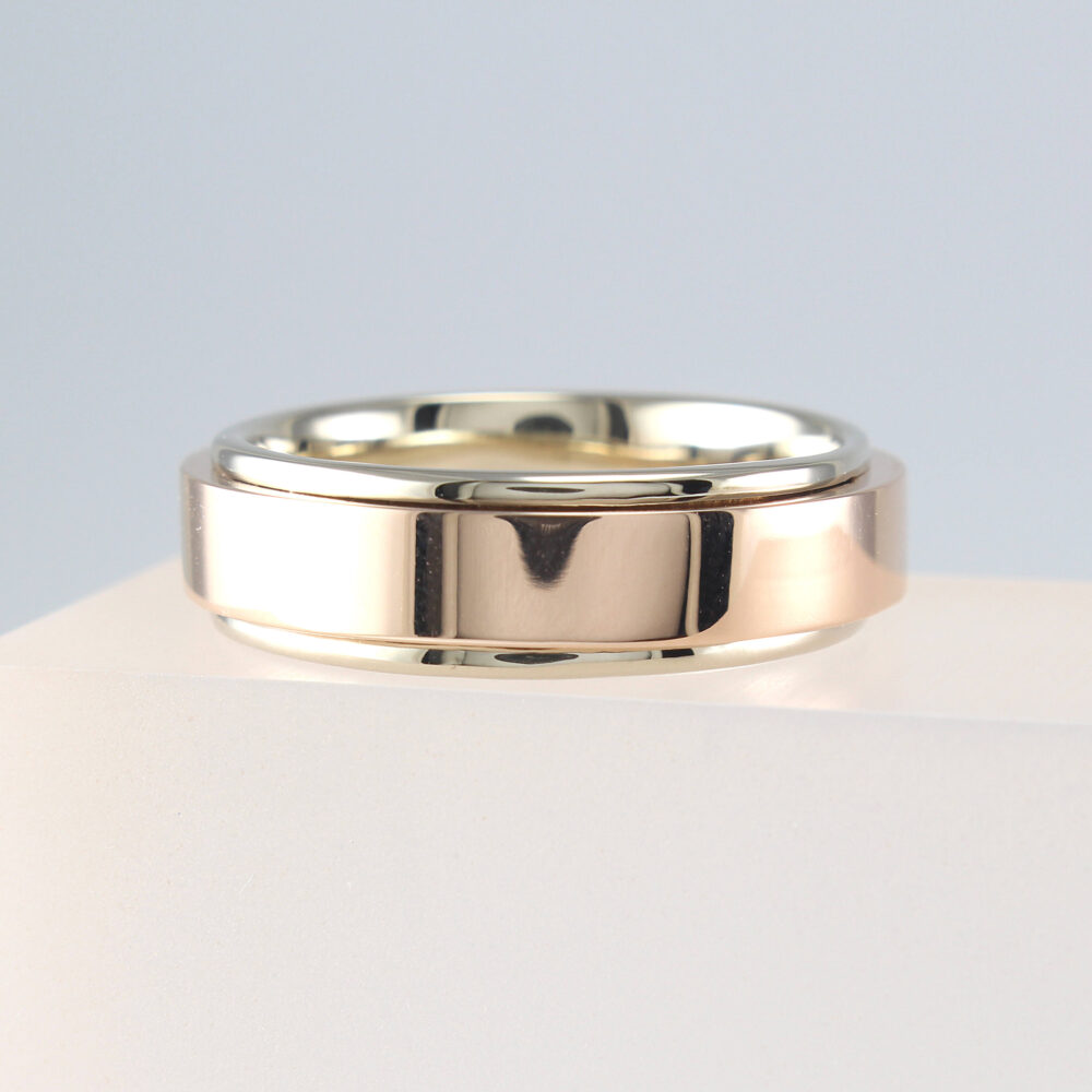 Mens Wedding Band Rose Gold, Two Tone Band, Yellow White Gold