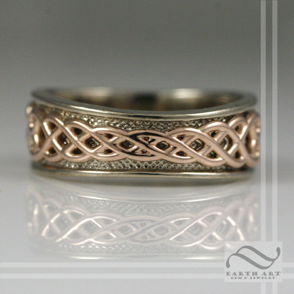 Mens 14K White & Rose Gold Tapered Celtic Wedding Band - Two Tone