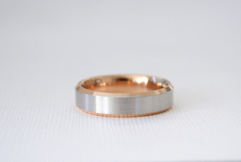 Handmade Beveled Men's Wedding Band in 14K Two Tone Rose & White Gold
