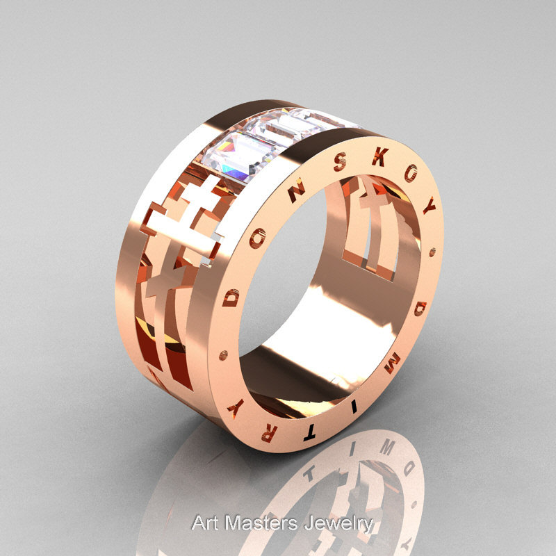 Dmitry Donskoy Mens 14K Rose Gold White Sapphire Channel Cluster Wedding Band R419M-14Krgws