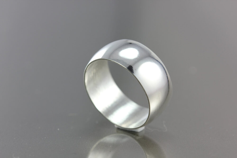 Men's Smooth Wedding Band   Sterling Silver, Gold, Rose Palladium White Gold 9.5mm Wide Rounded Low Profile Elegant Stylish