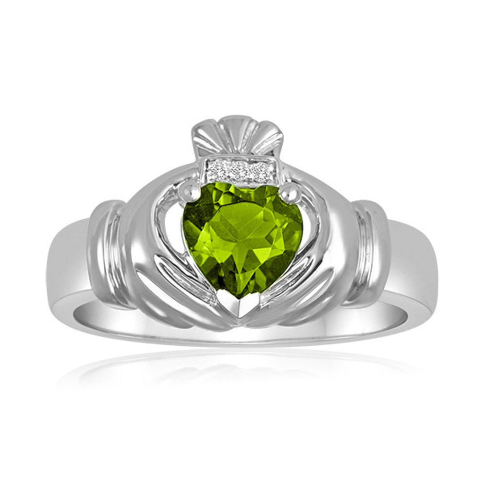 Claddagh Ring, Peridot Sterling Silver Men's Genuine Diamonds Minimalist Statement Rings For Men, Birthstone Ring