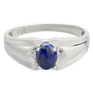 Men's Diamond Cabochon Cut Lapis Stone Ring Gold Silver, Mens Gemstone Rings, Rings For Men, Jewelry, Men Birthstone