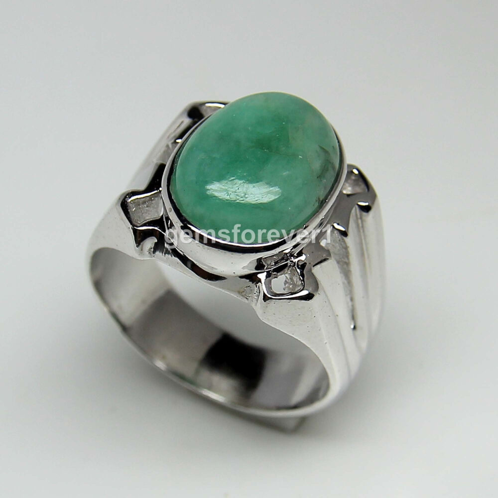 Natural Emerald Men's Ring-Green Stone Men Ring-Gemstone Ring-Gift For Him-925 Solid Silver Ring-May Birthstone Ring-Large Ring