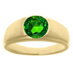 Men's Birthstone Rings - Round Emerald Ring in White Rose Yellow Black Gold Silver, Mens Green Rings, Men