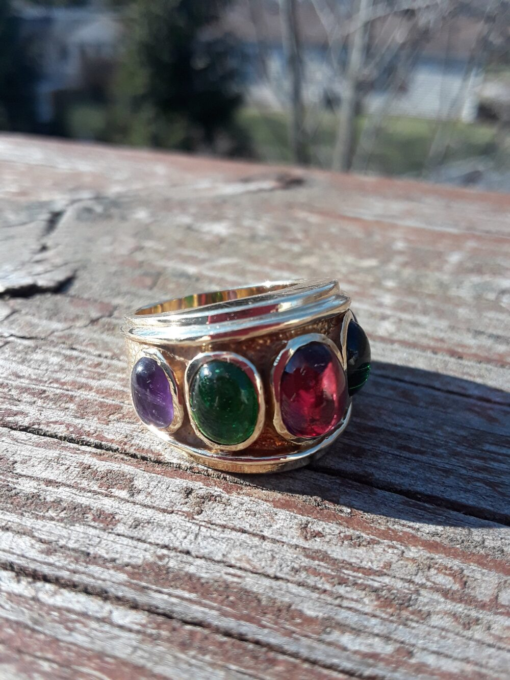 14K Gold Natural Gemstones Ruby Emerald Amethyst Cabochons Wedding Engagement Cocktail Ring Band Italian 13.7 Grams