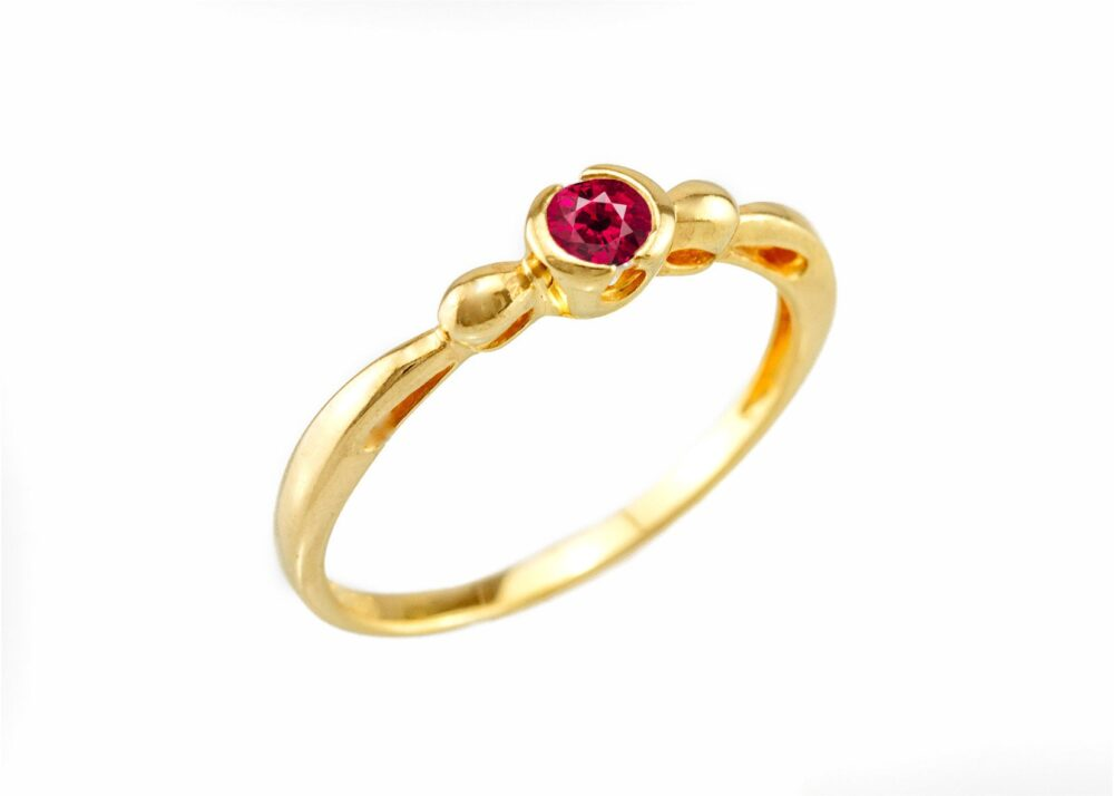 14K 18K Gold & Ruby Engagement Ring For Women, Solitaire Genuine Ring, Anniversary Wife