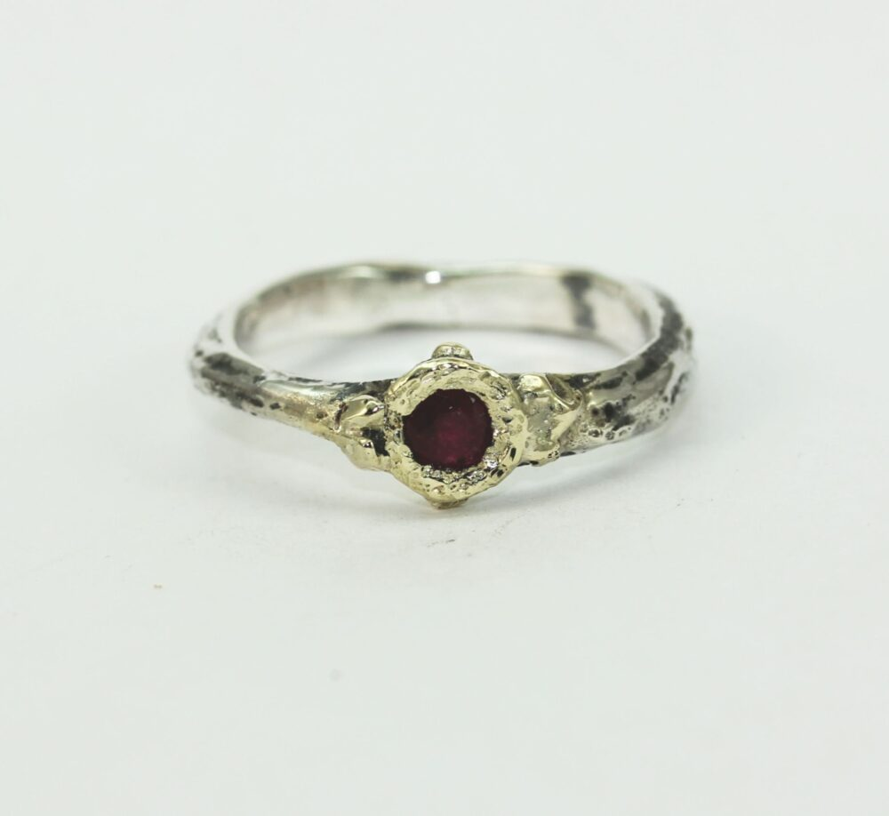 A Ruby Gold Silver Contemporary Engagement Organic Ring Band
