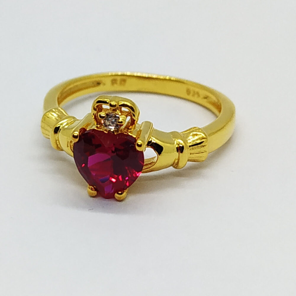 14K Yellow Gold Finish Sterling Silver Round Heart Created Ruby & Diamond Claddagh Engagement Promise Ring