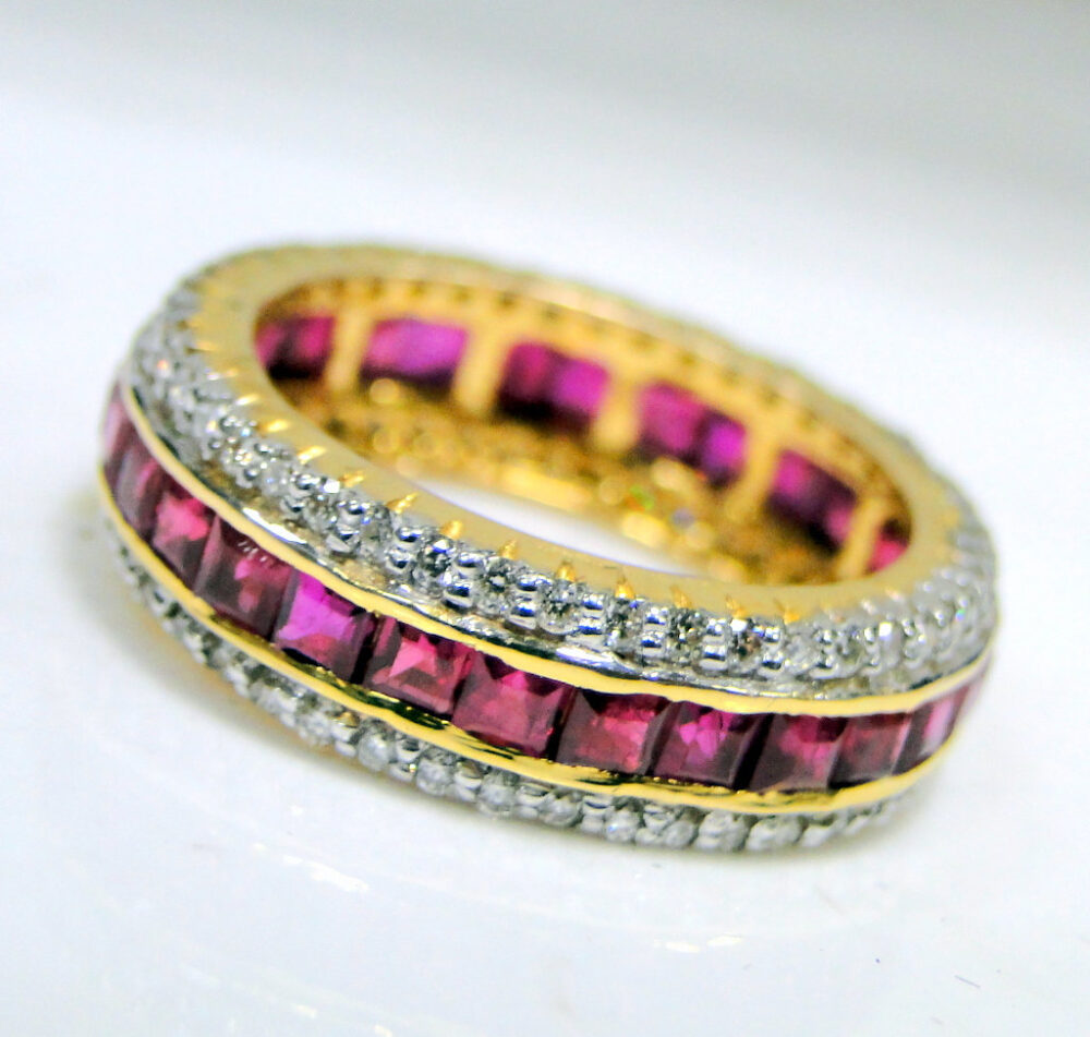 18K Gold Ruby Diamond Ring Engagement Wedding Ring Band