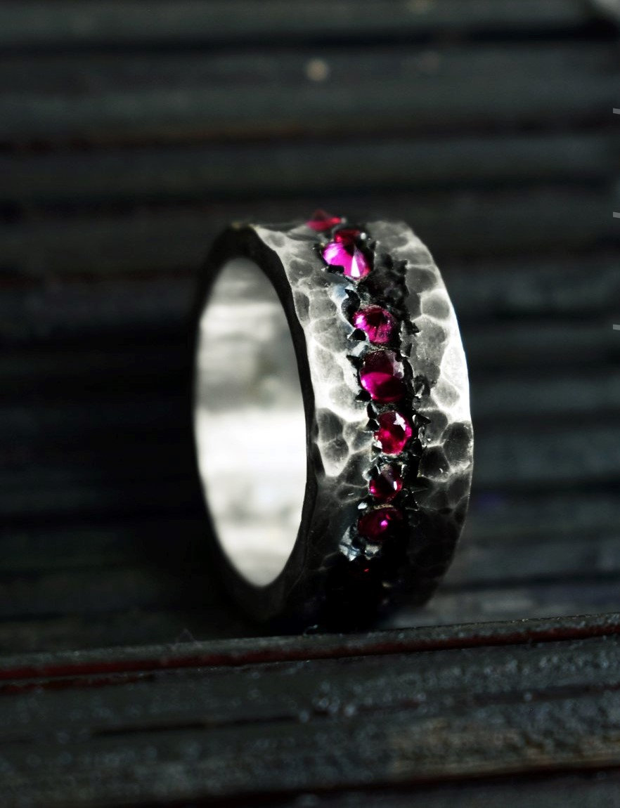 Hammered Band Ring With Gemstones, Unisex Zircon in Sterling Silver, Textured Ring, Hand Stamped For Men, Handmade Unique