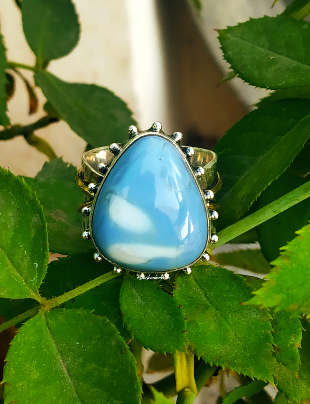 Blue Opal Ring, 92.5% Silver Big Stone Handcrafted Ring, Hammered Band Ring, Wide Ring, Opal Jewelry, Boho Ring