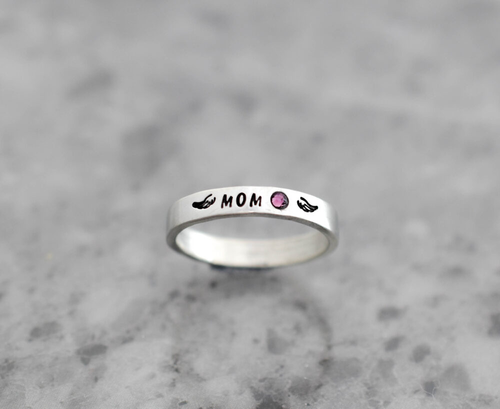 stacking Ring, Loss Of Mom Memorial Winged Name Birthstone Angel Wing, Minimalist, Dad Mother Loved One Ring