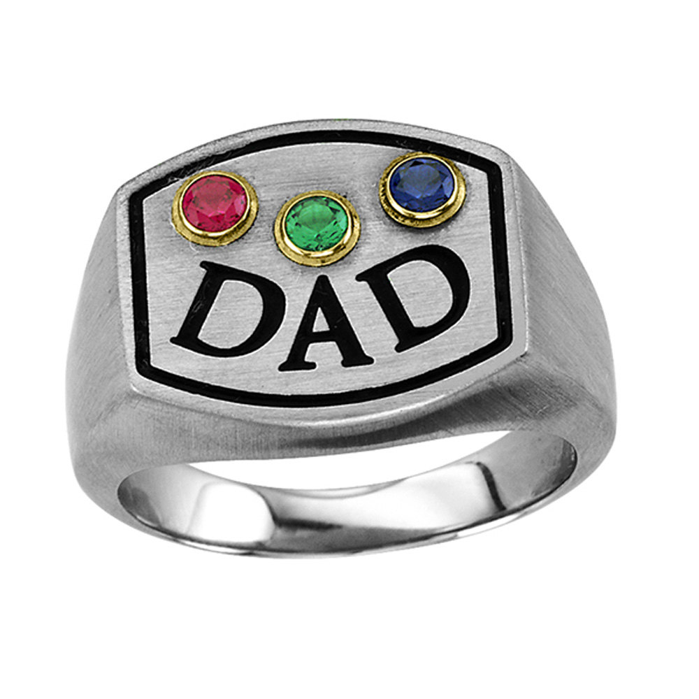 "Dad Signet Ring, Birthstone Men's ""Dad"" Ring in Stainless Steel With Three Personalized Birthstones, Triple"