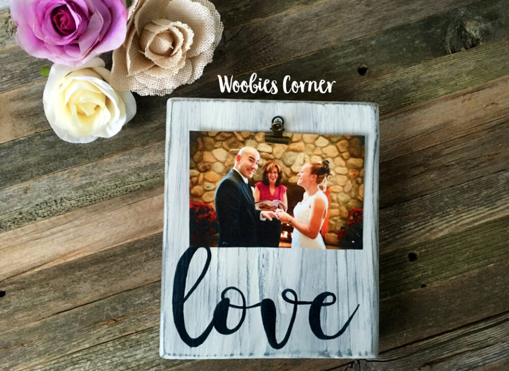Wedding Photo Frame, Distressed Picture French Country Decor, Family Room Gallery Wall Rustic Wood Sign