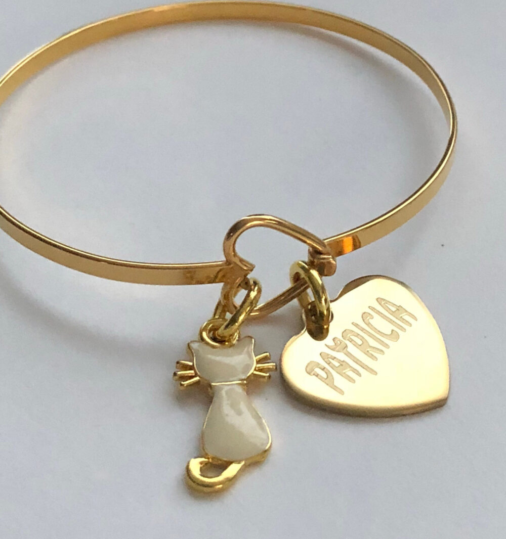 "Cat Bracelet-Engraved With Name Personalized-Fits Wrist 5 1/2"" To 7""Great For Stacking & Layering"