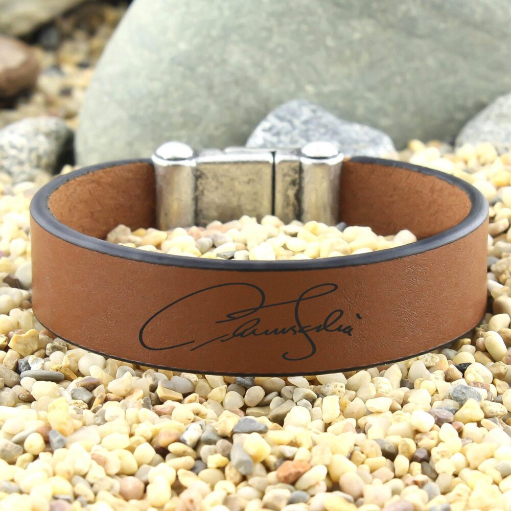 Personalized Signature Bracelet, Leather Cuff Custom Handwriting, Actual Jewelry, Keepsake Gift