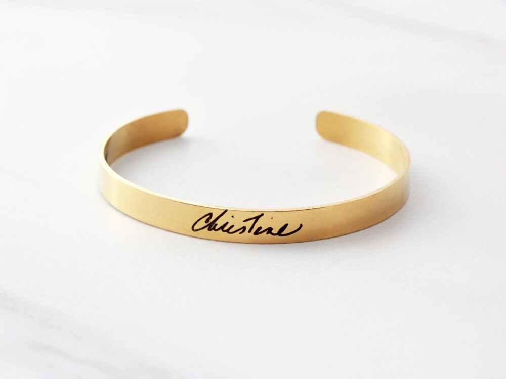 Actual Signature Bracelet - Engraved Handwriting, Bracelet, Custom Cuff Handwriting Thin Hwr