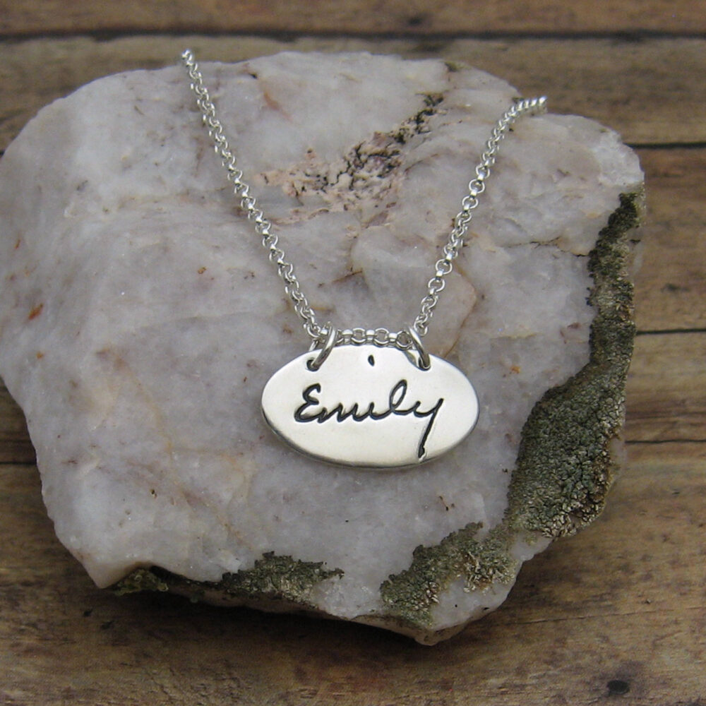 Handwriting Jewelry, Custom Silver Oval Pendant Personalized With Your Handwriting, Necklace, Name Signature Jewelry