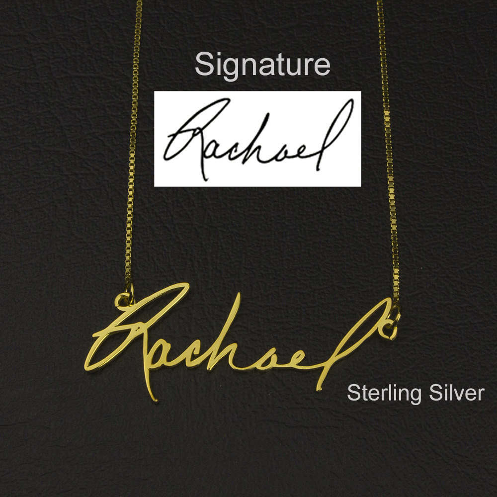 Signature Necklace Handwriting Name Personalized Jewelry Nameplate Gold - Sterling Silver