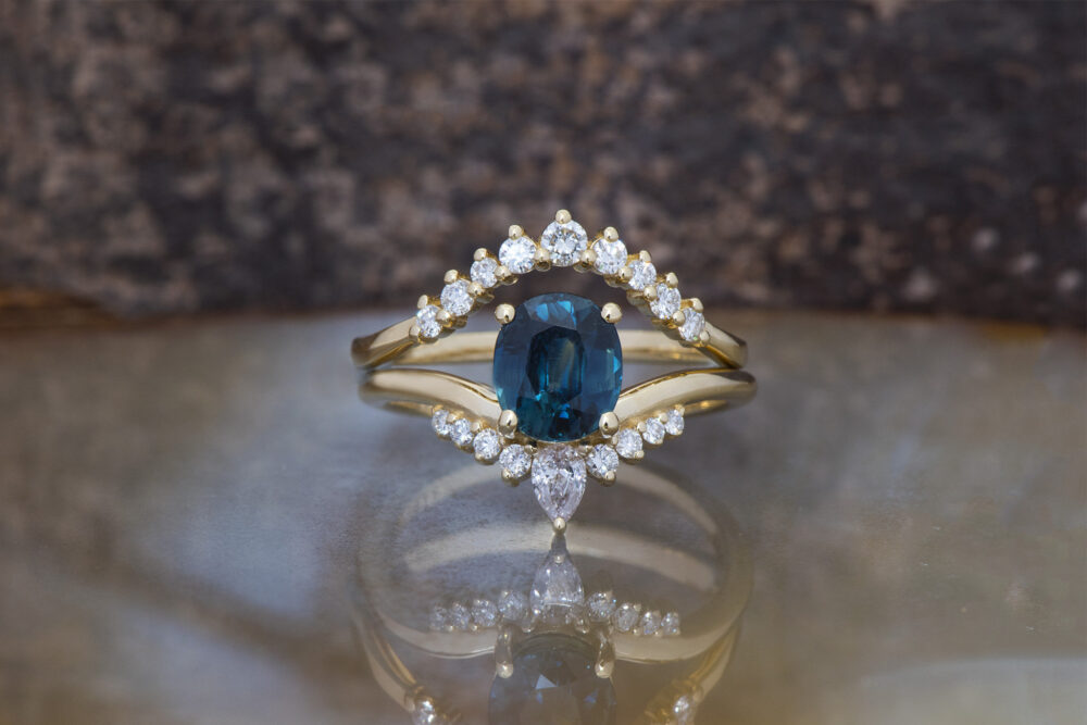 Alternative Engagement Ring-Blue Green Sapphire Wedding Ring Set-Gatsby Diamond Engagement Ring-Sapphire Diamond Ring-14K Sapphire
