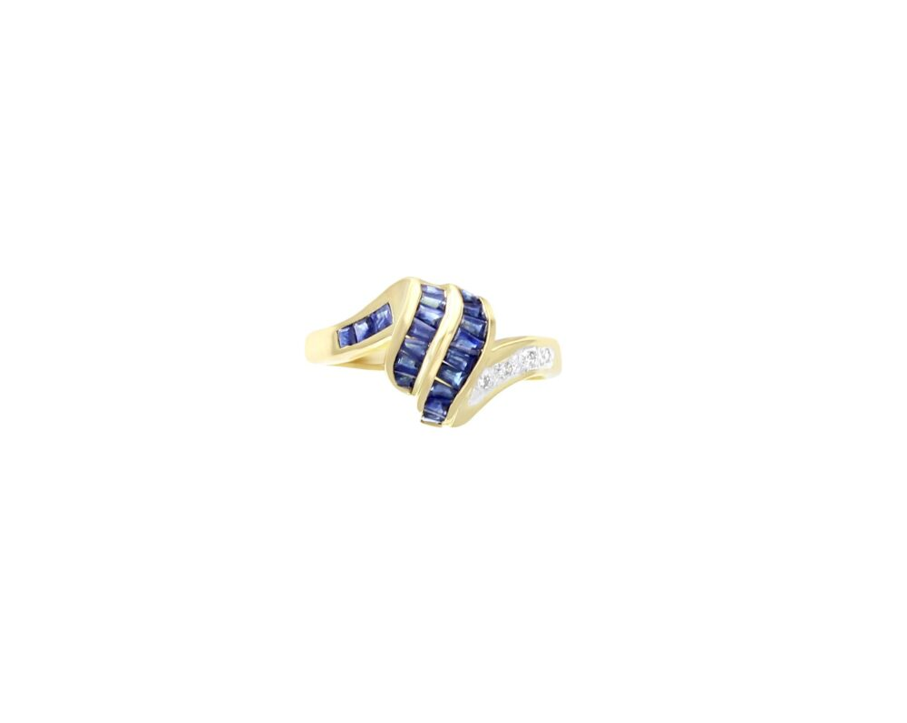 Diamond & Sapphire Wave Ring - 14K Yellow Gold Band 1.08Cttw Baguettes Gemstone Engagement Ring, Cocktail Ring