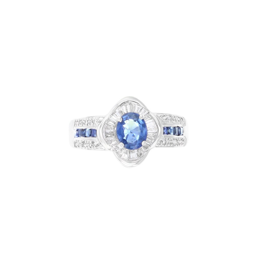 Sapphire Diamond Baguette 18K White Gold Ring - 1.60Cttw Gemstone Engagement Ring, Sapphire Jewelry, Statement Cocktail Ring