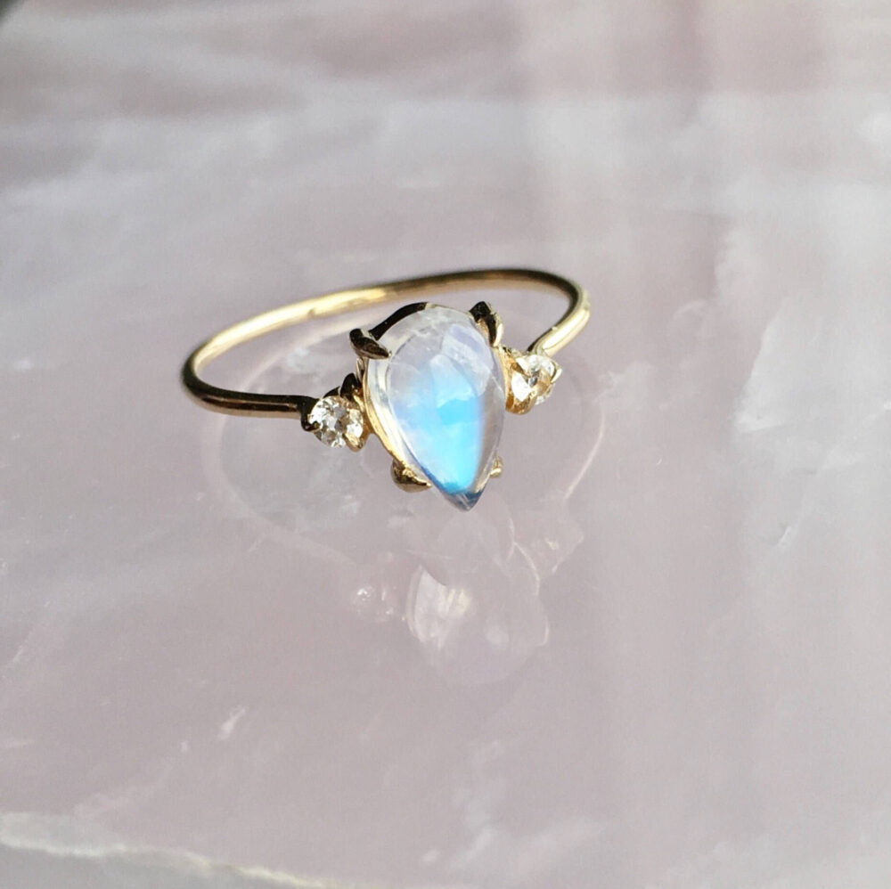 Solid 14K Yellow Gold Pear Shaped Moonstone Ring Side White Sapphire Stones Round Thin Band Facet Claw Prong Setting Untreated Genuine Stone