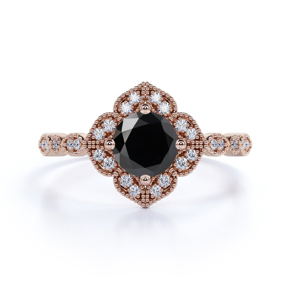 1.5 Carat Black Diamond Engagement Ring in 14K Rose Gold, Unique Dotted Design Wedding Ring, Promise For Her, Woman Anniversary Gift