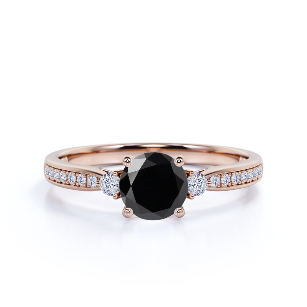 Classic 3 Stone Black Diamond Engagement Ring in Rose Gold, Real Promise Trilogy For Her, Gift Girlfriend East To West