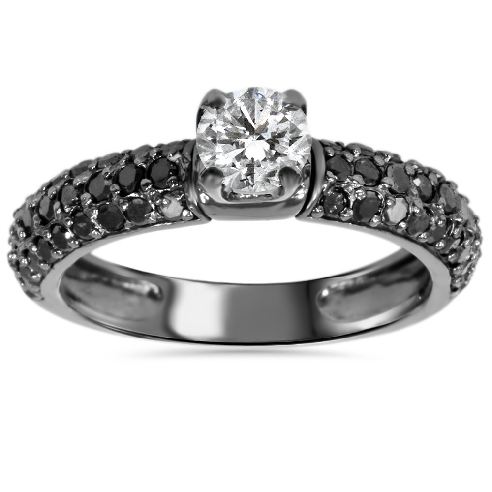 Black Diamond Engagement Ring, Gold Band 1.00Ct Pave Ring 14K Size 4-9