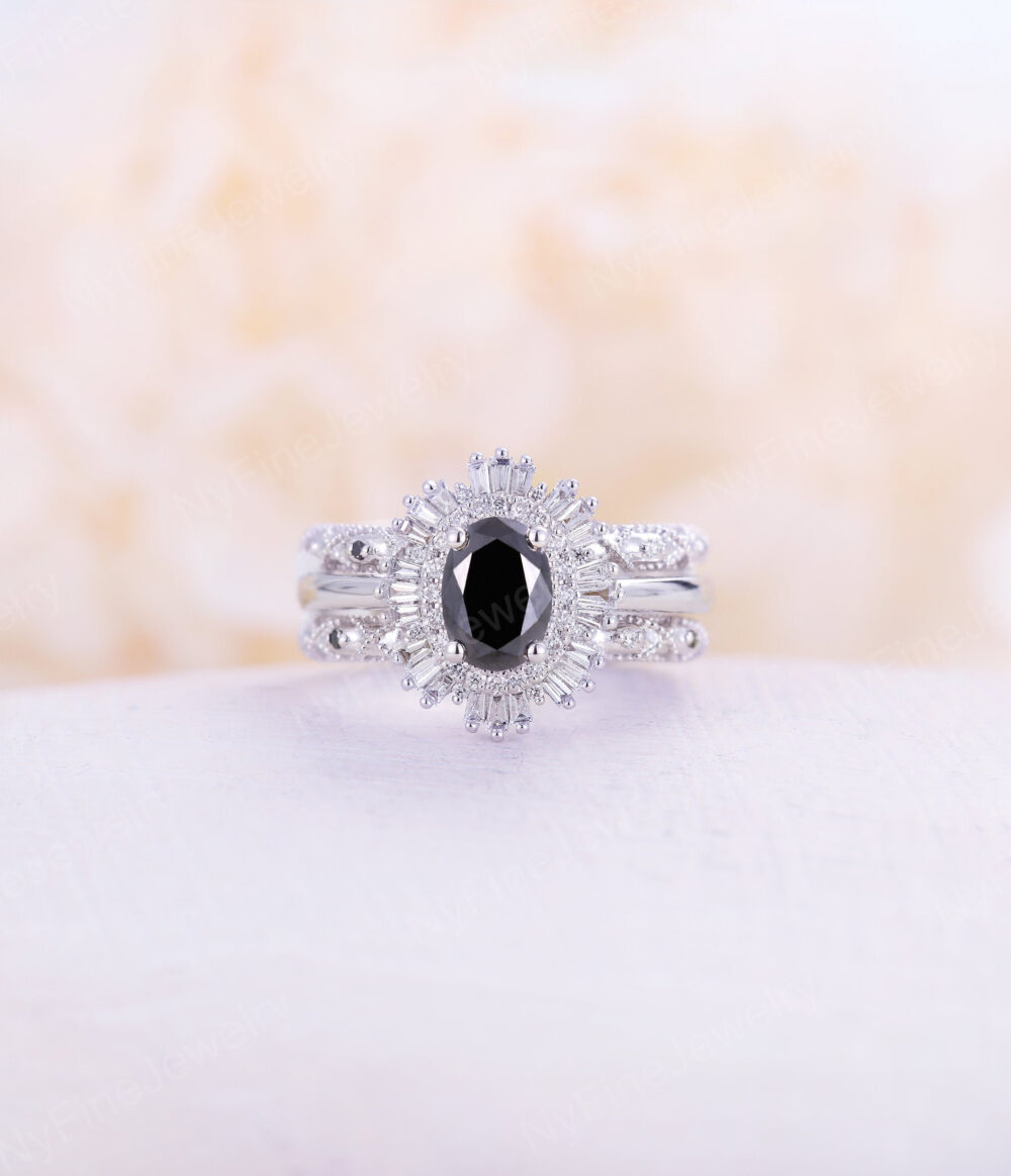 Vintage Engagement Ring Set Oval Cut Black Onyx White Gold Halo Diamond Wedding Promise Anniversary Gift For