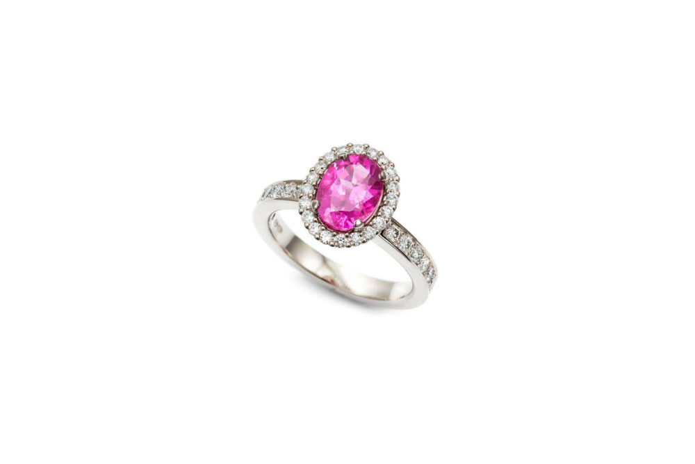 Vintage Engagement Rings, Pink Tourmaline Ring, Halo Engagement Rings For Women, Diamond Oval