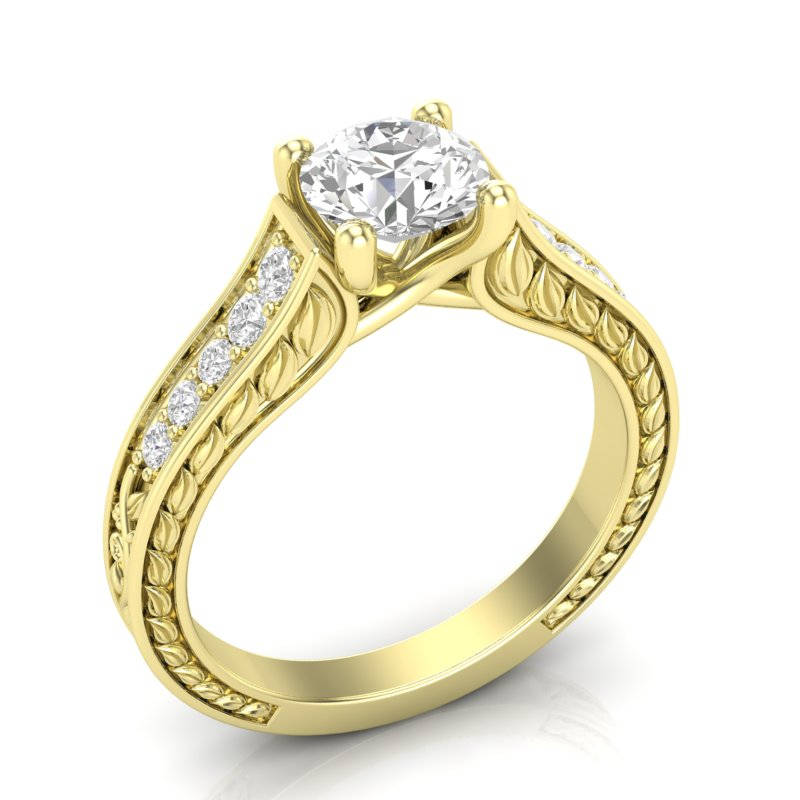 14K Vintage Engagement Ring Yellow Gold Milgrain Filigree Floral Forever One Colorless Her Moissanite
