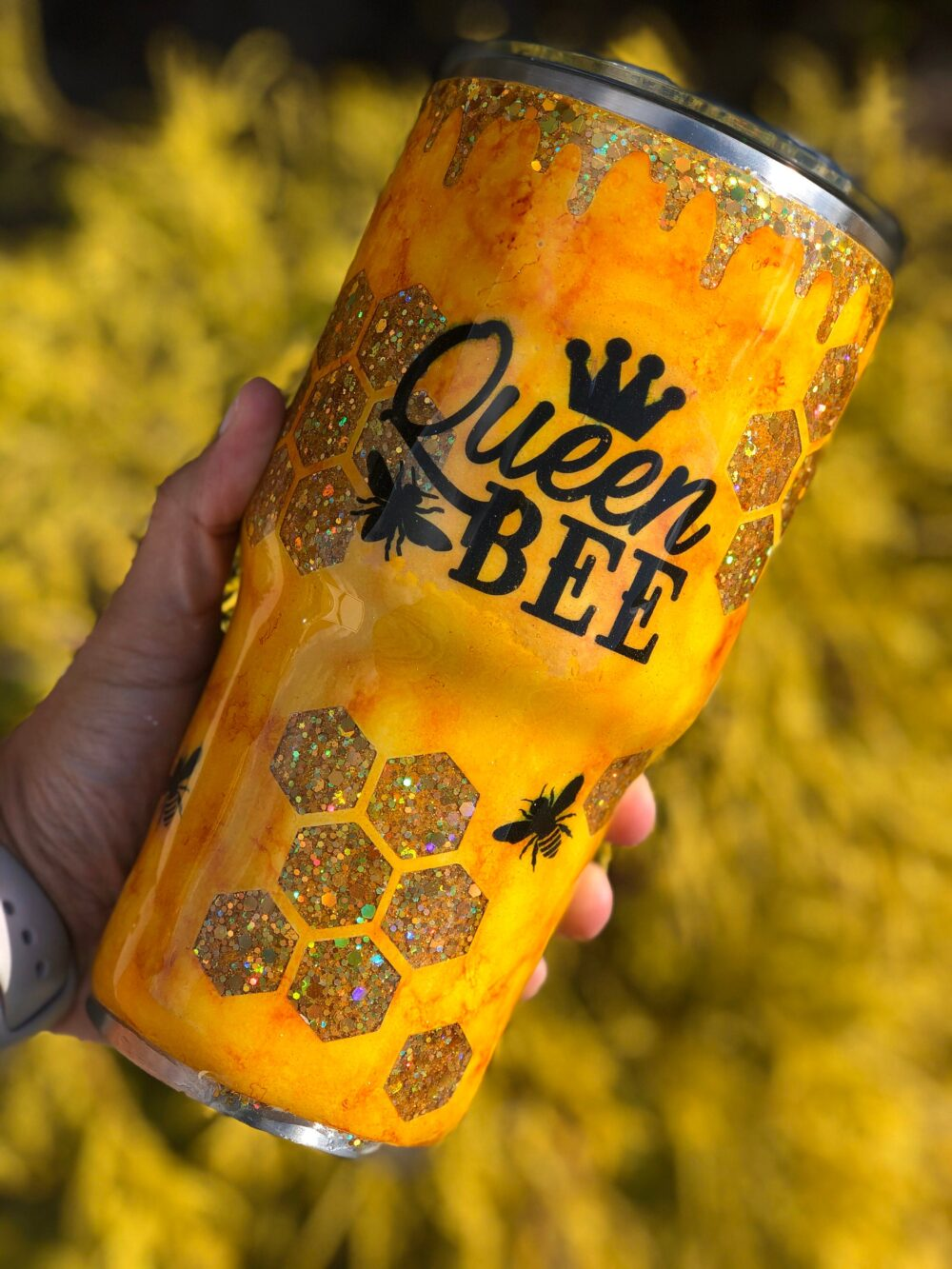Yellow & Gold Queen Bee Hive Glitter Double Walled Custom Name Tumbler
